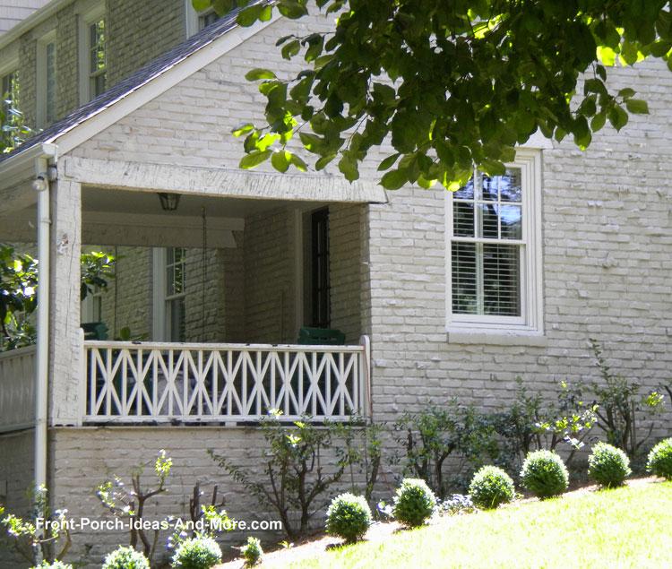 diagonal porch railings on front porch