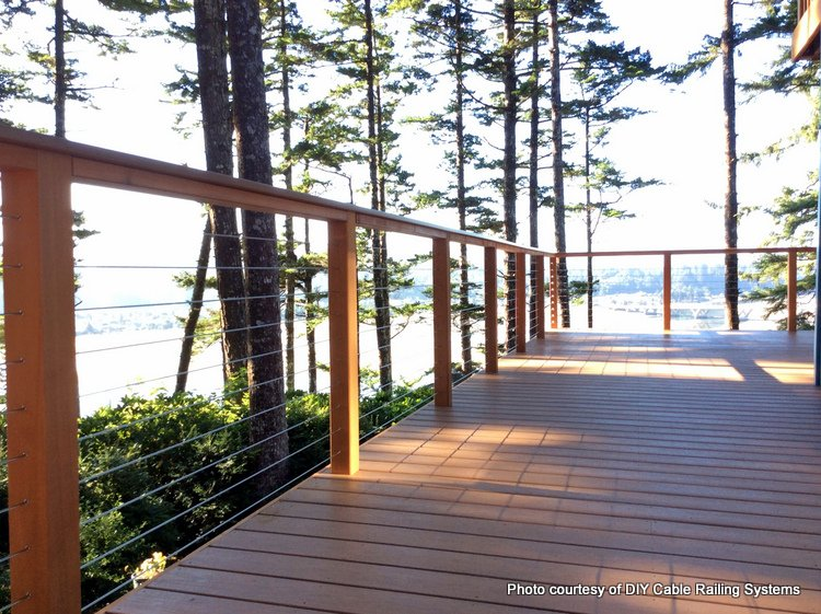 horizontal steel Cable Railings on deck overlooking woods