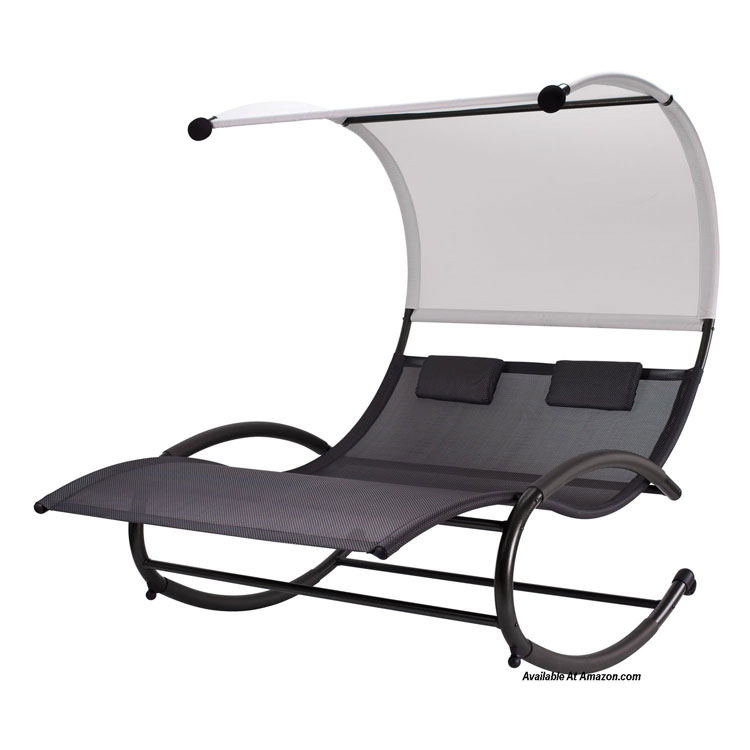 Contemporary Double Chaise Rocking Chair Built For Two!  On Amazon  (affiliate)