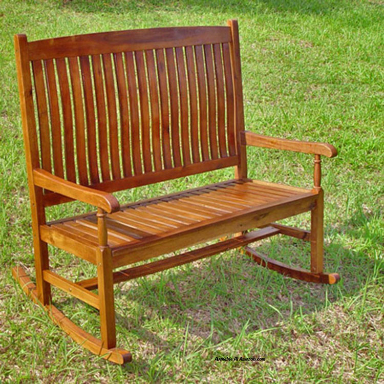 Highland Acacia Stained Double Porch Rocker  -available at Amazon.com