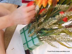 inserting foliage into foam