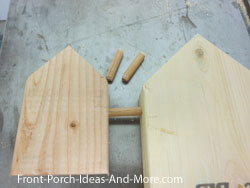 dry fitting dowels into holes