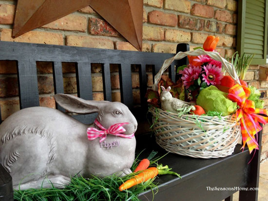 Eileen's decorates her porch bench with an Easter bunny and basket