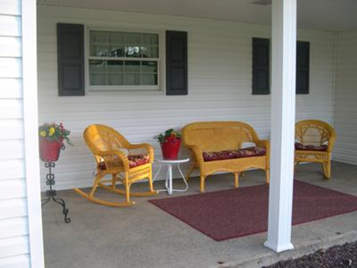 Red and yellow porch