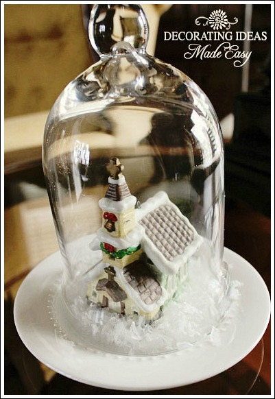 Enchanting little snow village from JenniferDecorates.com