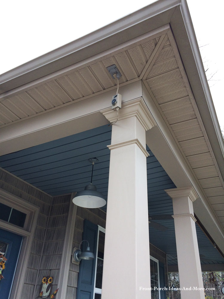 A receptacle in your porch eave is handy for holiday lights