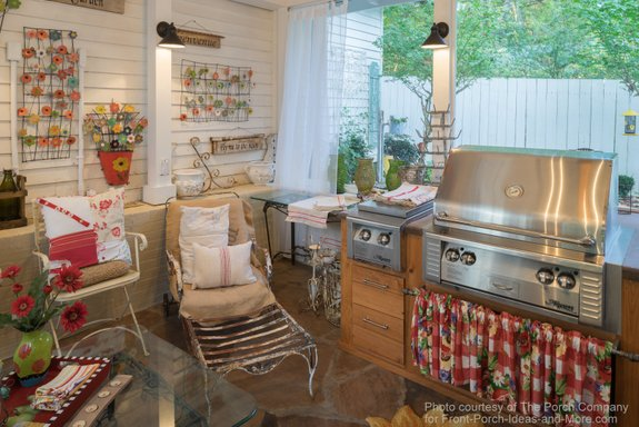 Outdoor kitchen on porch by Embers Fireplace and Grill Store. Porch is from The Porch Company