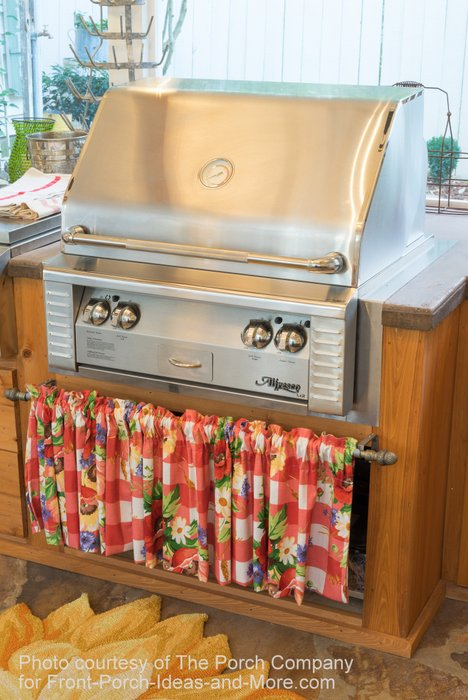 Close-up of the outdoor kitchen by Embers Fireplace and Grill Store.
