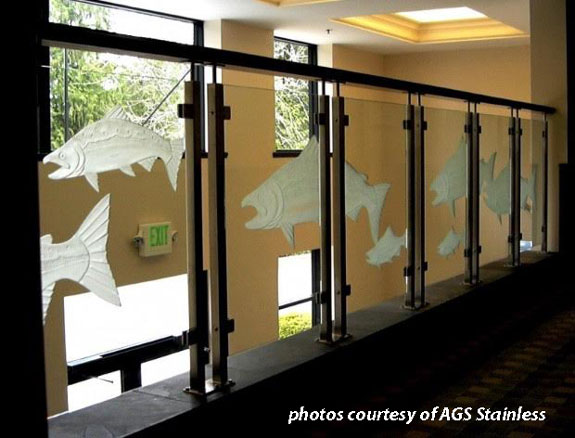 etched glass deck railings with fish pattern