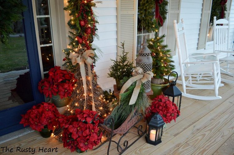 exquisite exterior christmas decorations on front porch