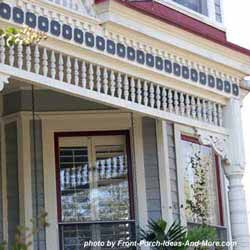 front porch with colorful exterior house trim