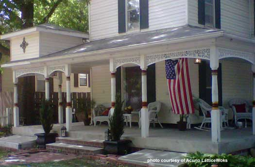 vinyl exterior house trim on porch columns