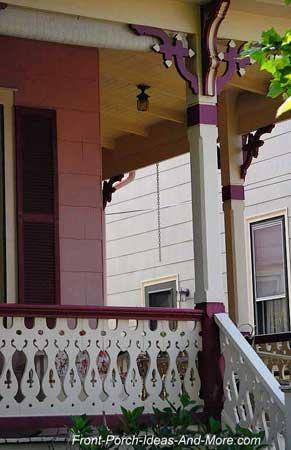 Multiple trim brackets on the porch columns