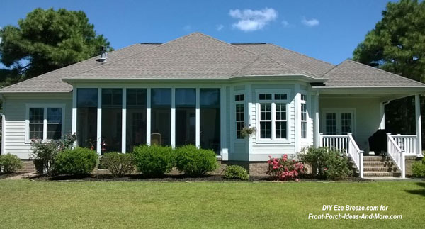 screen porch windows on ranch style home