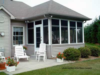 Screen porch windows on 3 season porch