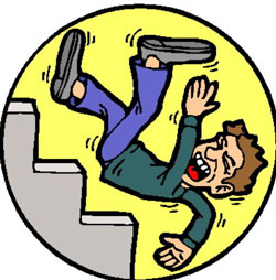 man falling down stairs clipart