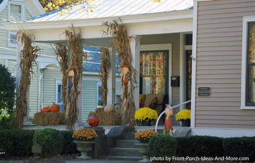 cornstalks attached to front porch columns