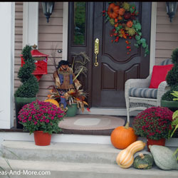 autumn decorated front porch