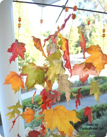 Craft Ideas  Home Decor on Craft A Charming Wind Catcher Made Of Fabric Autumn Leaves