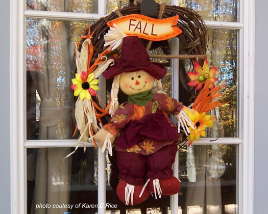whimsical autumn wreath on front door