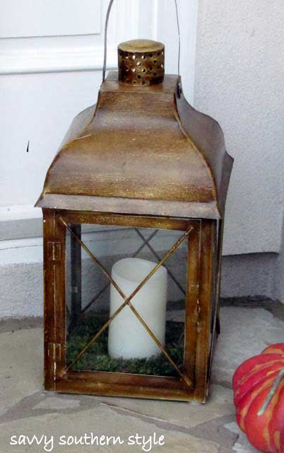 Pretty lantern with candle
