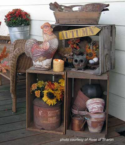 old crates decorated for fall