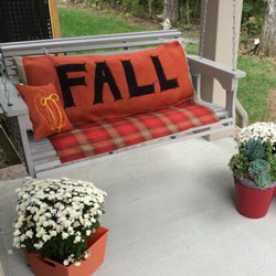 lettered fall porch swing cushion