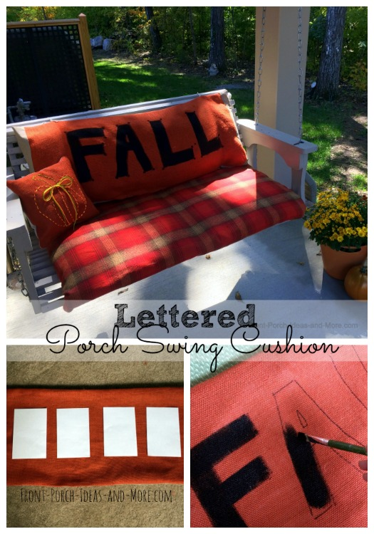 lettered porch swing cushion for fall