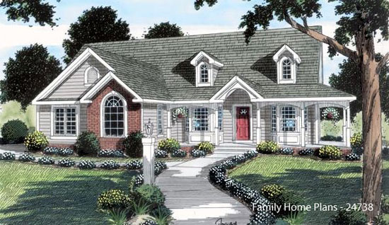 cottage style home plan with wrap around porch