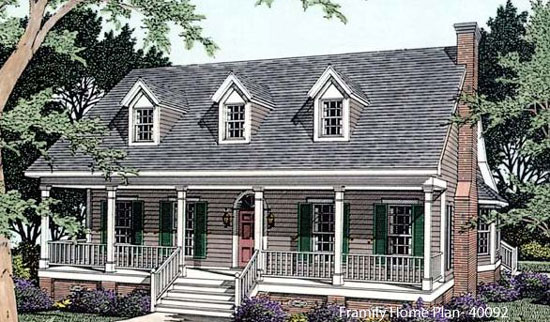 one and a half story home plan with large country porch