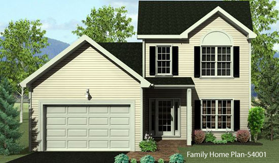 Vintage contemporary two story home plan with front porch