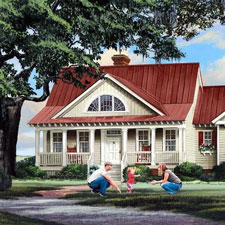 quaint house plan with parents in front yard
