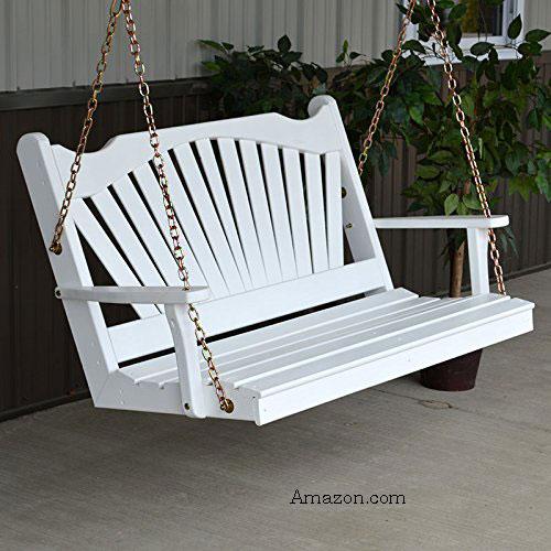 White fanback designed porch swing at Amazon