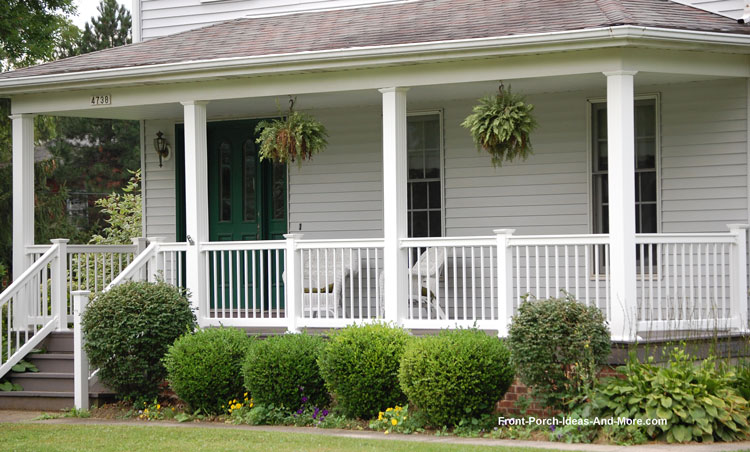 hip roof on country style front porch