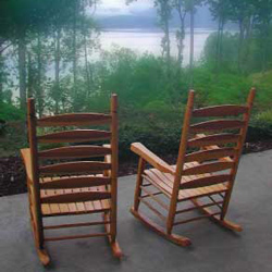 two porch rocking chairs with a view
