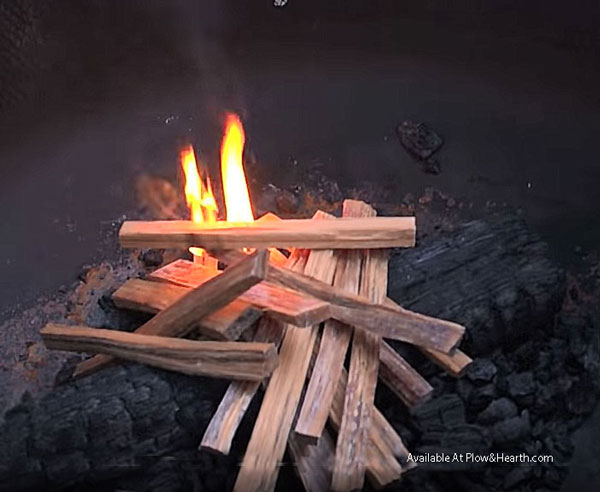 fatwood kindling on buring fire