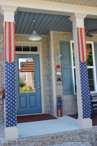 Americana flag hanging on front door