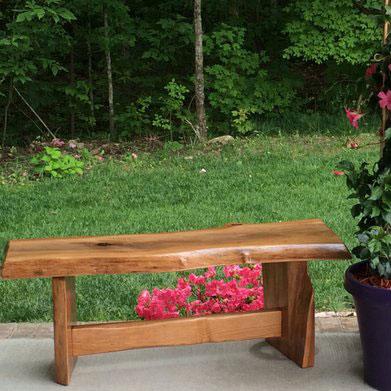 a diy cherry garden bench on porch