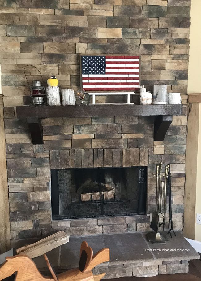 Stone Chase fireplace with decorated fireplace mantel ideas