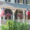flags displayed on porch