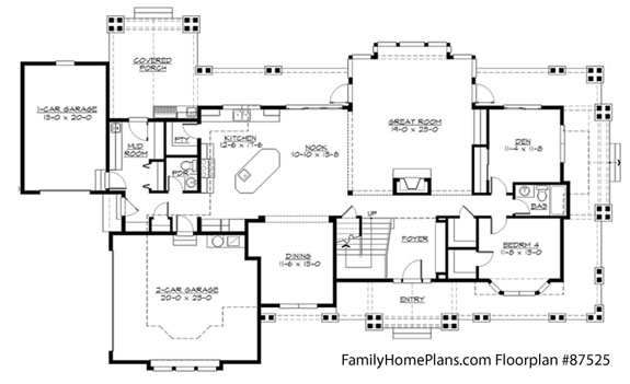 Large home floor plan from familyhomeplans.com 87525