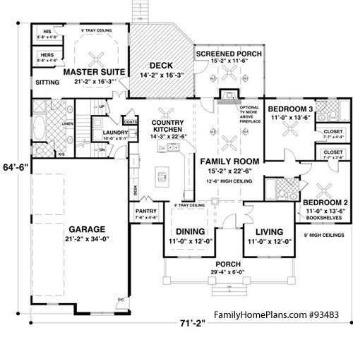 interior floor plan of craftsman home Family Home Plan # 93483