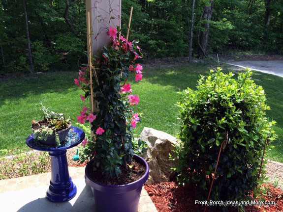 flower pot trellis on front porch