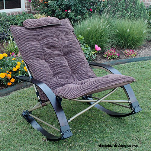 Plush Folding Rocking Chair Made From Wood Steel And Polyester On Affiliate