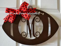 monogram football sign for front door