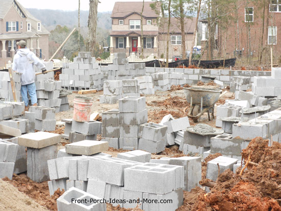 stacks of concrete blocks for foundation