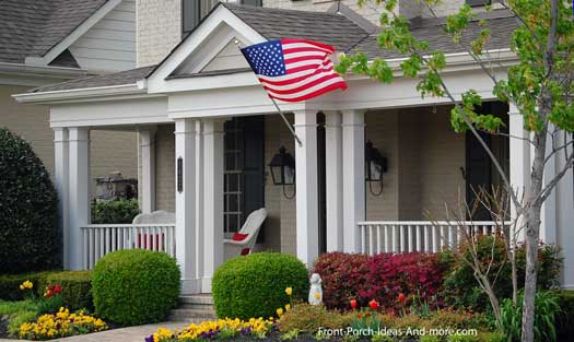 classic front porch with American flag in Franklin Tennessee