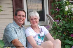 Mary and Dave on front porch steps