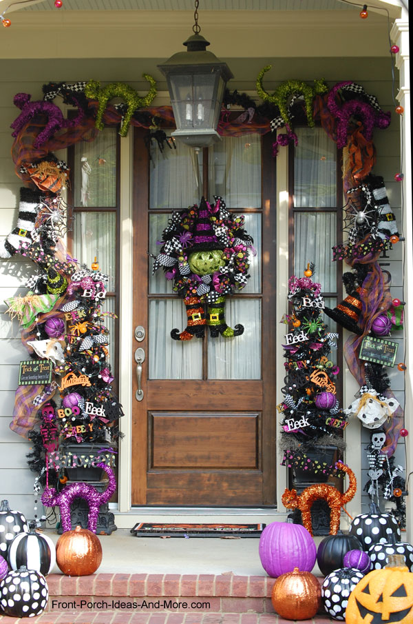 amazingly decorated front door for Halloween