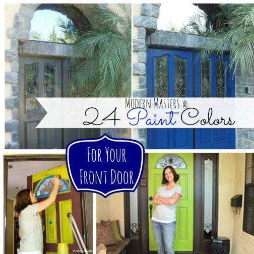 collage of front door paint colors